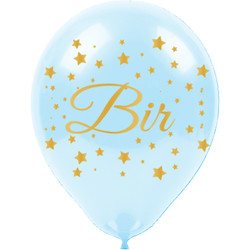 Kikajoy - Kikajoy Altın Bir Yaş Baskılı Mavi Balon 100'lü