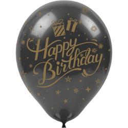 Kikajoy - Kikajoy Altın Happy Birthday Baskılı Siyah Balon 100'lü