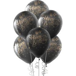 Kikajoy - Kikajoy Altın Happy Birthday Baskılı Siyah Balon 10'lu