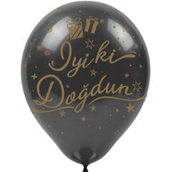 Kikajoy - Kikajoy Altın İyi ki Doğdun Baskılı Siyah Balon 100'lü