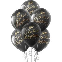 Kikajoy - Kikajoy Altın İyi ki Doğdun Baskılı Siyah Balon 10'lu