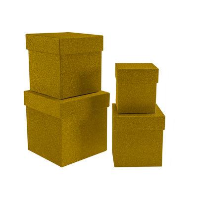 Kikajoy Altın Simli Kare Kutu Seti 4'lü
