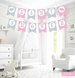 Kikajoy Baby Shower Pembe Harf Afiş - Thumbnail