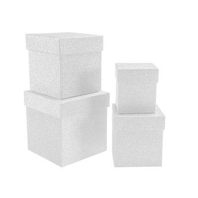 Kikajoy Beyaz Simli Kare Kutu Seti 4'lü