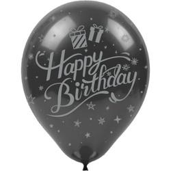 Kikajoy - Kikajoy Gümüş Happy Birthday Baskılı Siyah Balon 100'lü