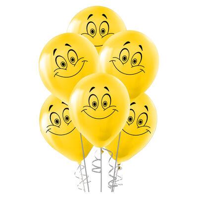 Kikajoy Gülen Yüz Baskılı Sarı Balon 100'lü