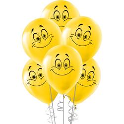 Kikajoy - Kikajoy Gülen Yüz Baskılı Sarı Balon 10'lu