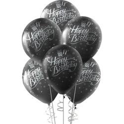 Kikajoy - Kikajoy Gümüş Happy Birthday Baskılı Siyah Balon 10'lu