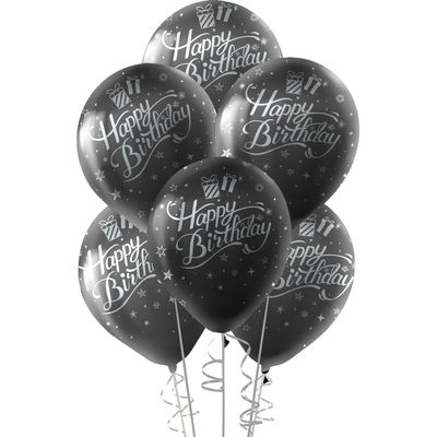 Kikajoy Gümüş Happy Birthday Baskılı Siyah Balon 10'lu
