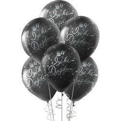 Kikajoy - Kikajoy Gümüş İyi ki Doğdun Baskılı Siyah Balon 10'lu