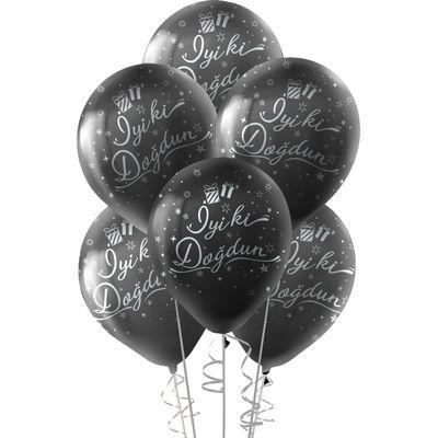 Kikajoy Gümüş İyi ki Doğdun Baskılı Siyah Balon 10'lu