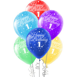 Kikajoy - Kikajoy Happy Birthday Bir Yaş Baskılı Rengarenk Balon 10'lu