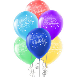 Kikajoy - Kikajoy Happy Birthday Baskılı Rengarenk Balon 10'lu