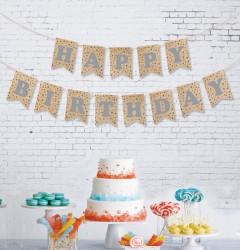 - Kikajoy Happy Birthday Kraft Zemin Gümüş Harf Afiş