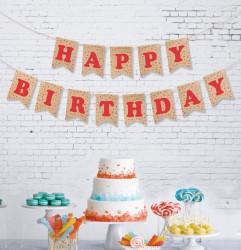 - Kikajoy Happy Birthday Kraft Zemin Kırmızı Harf Afiş