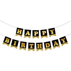 - Happy Birthday Siyah Zemin Altın Harf Afiş
