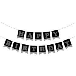 - Kikajoy Happy Birthday Siyah Zemin Gümüş Harf Afiş
