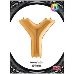 Kikajoy - Y Harf Kikajoy Altın Folyo Balon 102 cm (40 inch)