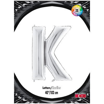 K Harf Kikajoy Gümüş Folyo Balon 102 cm