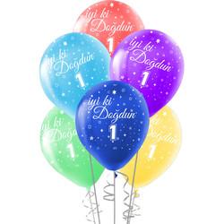 Kikajoy - Kikajoy İyi ki Doğdun Bir Yaş Baskılı Rengarenk Balon 10'lu