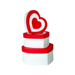 - Kikajoy Kalp Desenli Kutu Seti Beyaz 3'lü