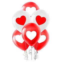 Kikajoy - Kikajoy Kırmızı Beyaz Kalp Baskılı Balon 100'lü