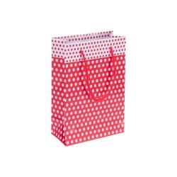 Kikajoy - Kırmızı Puantiyeli Karton Çanta 14x17cm 25 Ad