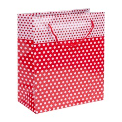 Kikajoy - Kikajoy Kırmızı Puantiyeli Karton Çanta 20x25cm 25'li