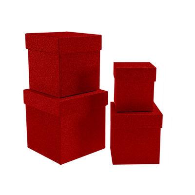 Kikajoy Kırmızı Simli Kare Kutu Seti 4'lü