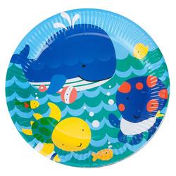 - Kikajoy Neşeli Balıklar Mavi Karton Tabak 23 cm 8'li