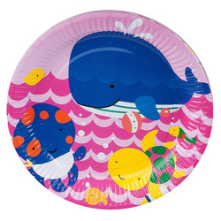 - Kikajoy Neşeli Balıklar Pembe Karton Tabak 23 cm 8'li