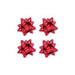 Kika - No:2 Kırmızı Renkli Metalik Hediye Paketi Süsü