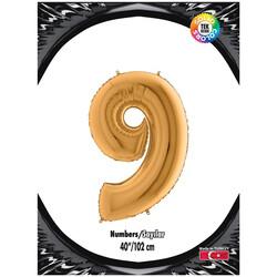 Kikajoy - 9 Rakam Kikajoy Altın Folyo Balon 102 cm (40 inch)