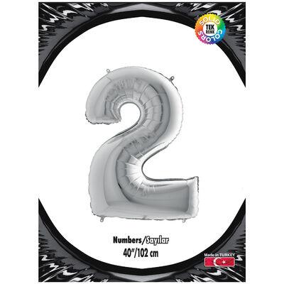 2 Rakam Kikajoy Gümüş Folyo Balon 102 cm