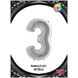 Kikajoy - 3 Rakam Gümüş Folyo Balon 40