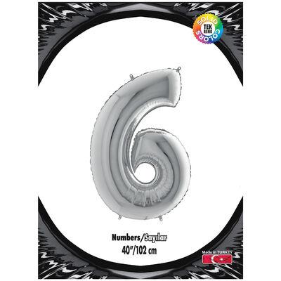 6 Rakam Kikajoy Gümüş Folyo Balon 102 cm