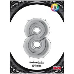 Kikajoy - 8 Rakam Gümüş Folyo Balon 40