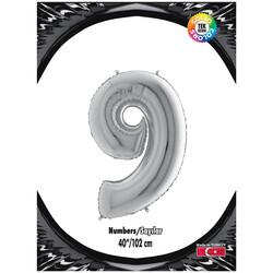 Kikajoy - 9 Rakam Gümüş Folyo Balon 40