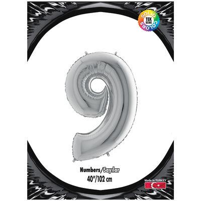 9 Rakam Kikajoy Gümüş Folyo Balon 102 cm