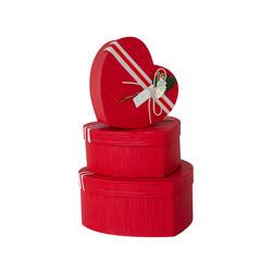 - Kikajoy Şeritli Kalp Kutu Seti Kırmızı 3'lü