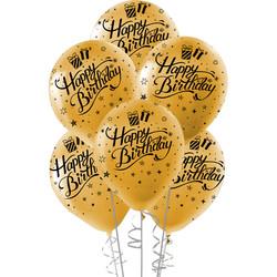 Kikajoy - Kikajoy Siyah Happy Birthday Baskılı Metalik Altın Balon 10'lu