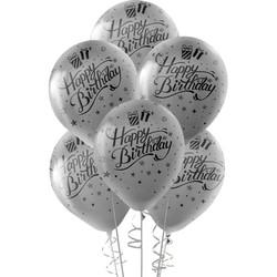 Kikajoy - Kikajoy Siyah Happy Birthday Baskılı Metalik Gümüş Balon 10'lu