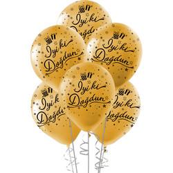 Kikajoy - Kikajoy Siyah İyi ki Doğdun Baskılı Metalik Altın Balon 10'lu