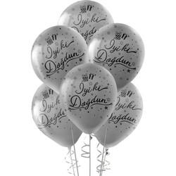 Kikajoy - Kikajoy Siyah İyi ki Doğdun Baskılı Metalik Gümüş Balon 10'lu