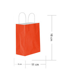 - Kırmızı Kraft Hediye Çantası 11x6x16 cm 25'li
