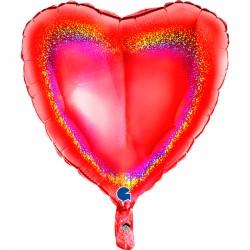 - Kırmızı Simli Kalp Grabo Folyo Balon 46 cm