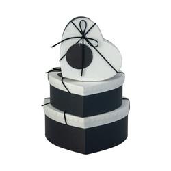 Kikajoy - Siyah Beyaz Kalp Kutu Seti