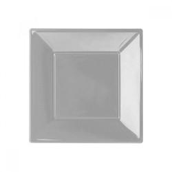- Gümüş Plastik Kare Tabak 17 cm 8'li