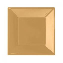 - Altın Plastik Kare Tabak 23 cm 8'li