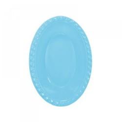 - Açık Mavi Plastik Oval Kase 12x17 cm 8'li